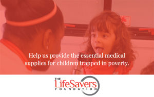 Donation graphic with nurse and child